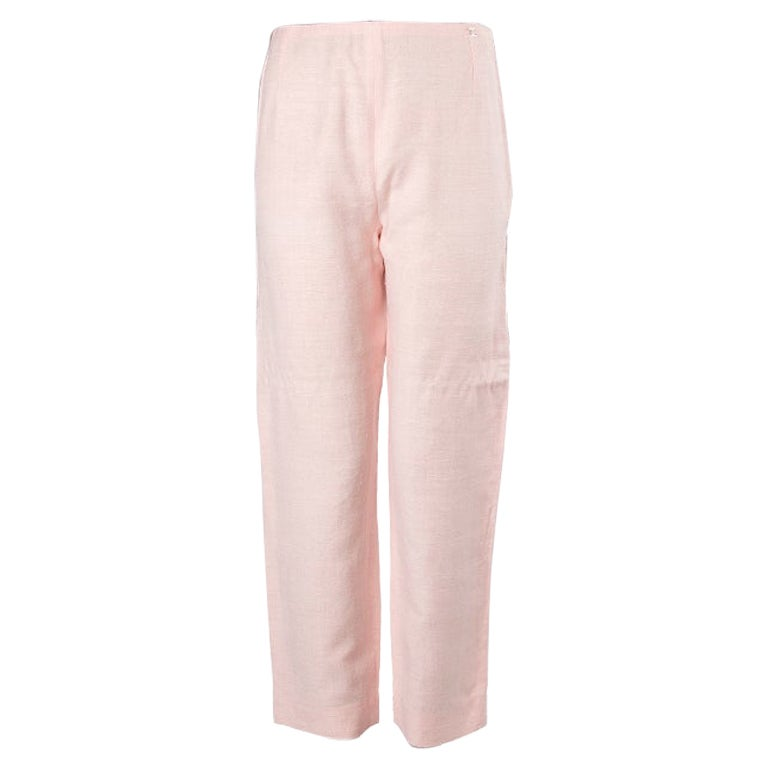 CHANEL light pink silk Classic Pants 44 (Fits more like a M)