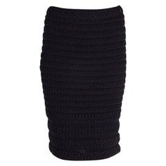 CHANEL midnight blue cotton CROCHET Pencil Skirt 38 S
