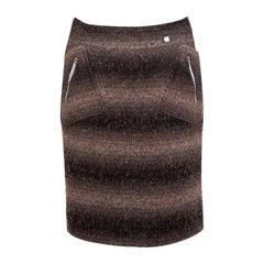 CHANEL brown & black GRADIENT STRIPED ZIP POCKET Skirt 38 S