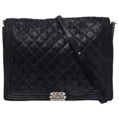 Chanel Black Quilted Iridescent Suede XL Gentle Boy Flap Bag