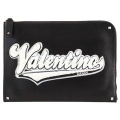 Valentino Varsity Zip Pouch Leather with Applique Medium