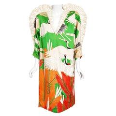 Vintage 1980's Crane Bird Novelty Embroidered Silk Winged Kimono Couture Dress
