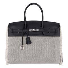 Hermes Birkin Fray Fray 35 Bag Black Swift Leather / Toile Limited Edition