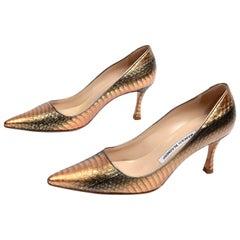Manolo Blahnik Copper Rose Bronze Snakeskin Pumps With Heels & Pointed Toe