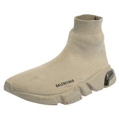 Balenciaga Grey Knit Fabric Speed Sneakers Size 42