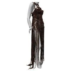 "Torso Creations ""Ibiza"" Macrame Gown W/ Sculpted Bodice & Fringe"