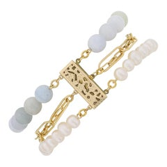 Multi Strand Aquamarine, Pearl and 14k Gold Filled Paperclip Chain Bracelet