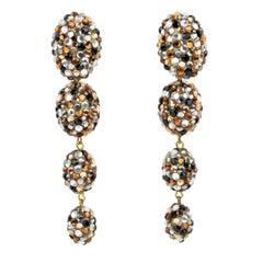 Richard Kerr Dangle Topaz and Silver Crystal Clip Earrings