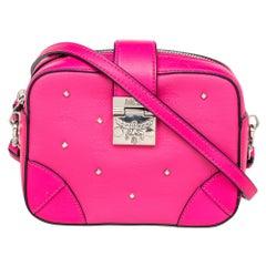 MCM Pink Leather Embellished Camera Bag