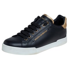 Dolce&Gabbana Black Leather Portofino Low Top Sneakers Size 40