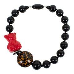 Angela Caputi Black Resin  and Red Teddy Bear Choker Necklace