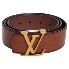 Louis Vuitton Brown Leather LV Initiales Belt 95 CM