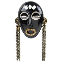 Missoni Italy 1991 Black Resin Tribal Mask Pin Brooch