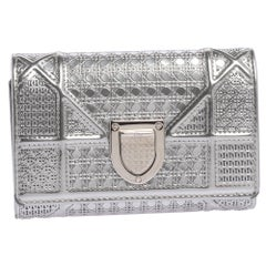 Dior Metallic Silver Micro Cannage Leather Diorama Trifold Wallet