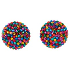 Richard Kerr Multicolor Crystal Paved Clip Earrings