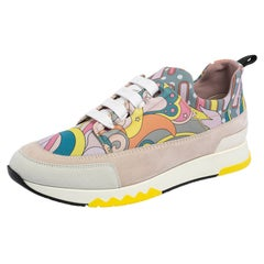 Hermes Multicolor Print Canvas and Suede Stadium Low Top Sneakers Size 37