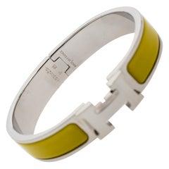 Hermès Clic H Lime Yellow Enamel Palladium Plated Narrow Bracelet PM