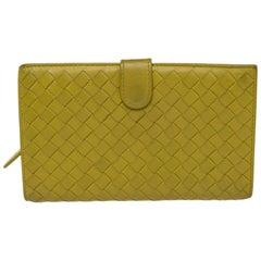 Bottega Veneta Yellow Intrecciato Leather Continental Wallet