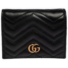 Gucci Black Matelassé Leather GG Marmont Card Case
