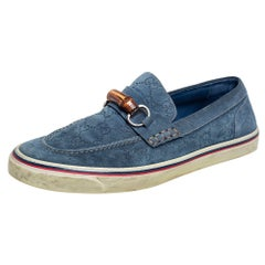 Gucci Blue Guccissima Suede Bamboo Icon Bit Slip On Sneakers Size 43.5