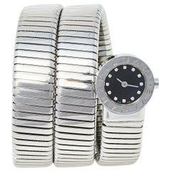 Bvlgari Black Stainless Steel Diamonds Tubogas BB 19 1TS Women's Wristwatch 19 m