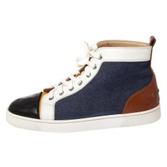 Christian Louboutin Multicolor Denim And Leather Louis Flat High Top Sneakers Si