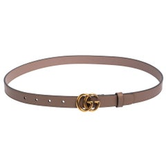 Gucci Dusty Pink Leather Double G Buckle Slim Belt 85 CM