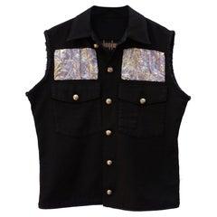 Sleeveless Jacket Vest Embellished Black Lilac Lurex Brocade J Dauphin