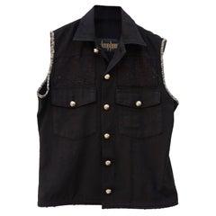 Sleeveless Jacket Vest Military Embellished Black Tweed Silver Buttons J Dauphin