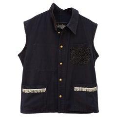 Sleeveless Vest Jacket Black French Work Wear Fringe Embellished J Dauphin