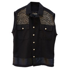 Vest Sleeveless Jacket Embellished Black Gold Black Lurex Tweed  J Dauphin