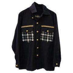 Black Jacket Military White Black Wool Tartan Gold Braid Buttons J Dauphin