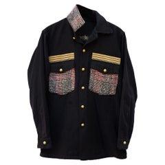 Designer Jacket Black Military Red White Black Tartan Wool Gold Braid J Dauphin