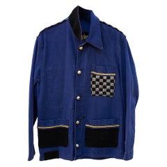 Designer Collectible Vintage Jacket Embellished French Work Blue Tweed J Dauphin