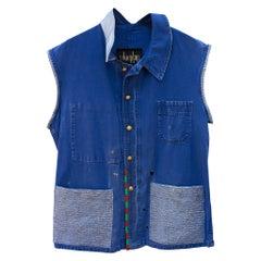 Vest Blue Vintage French Distressed Jacket Repurposed Blue Glitter J Dauphin