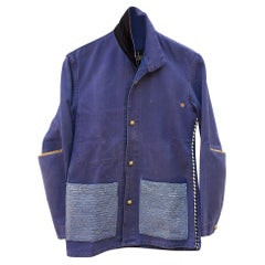 Jacket Blue French Workwear Distressed Glitter Blue Gold Buttons J Dauphin