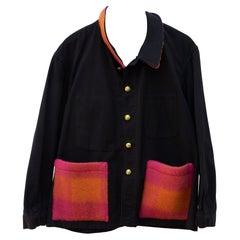 Jacket Black Pink Orange Gold Wool Pocket Gold Buttons J Dauphin