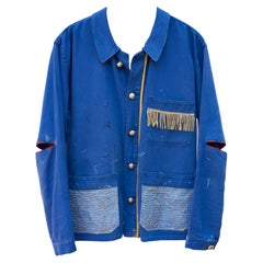 Jacket Distressed French Work Blue Embellished Fringes Gold Braid J Dauphin