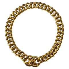 1990s Chanel Gold Toned Turnlock Chain Necklace Turn Lock