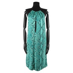 Spring 2000 Gucci by Tom Ford Green, Turquoise And Black Snakeskin Print Dress