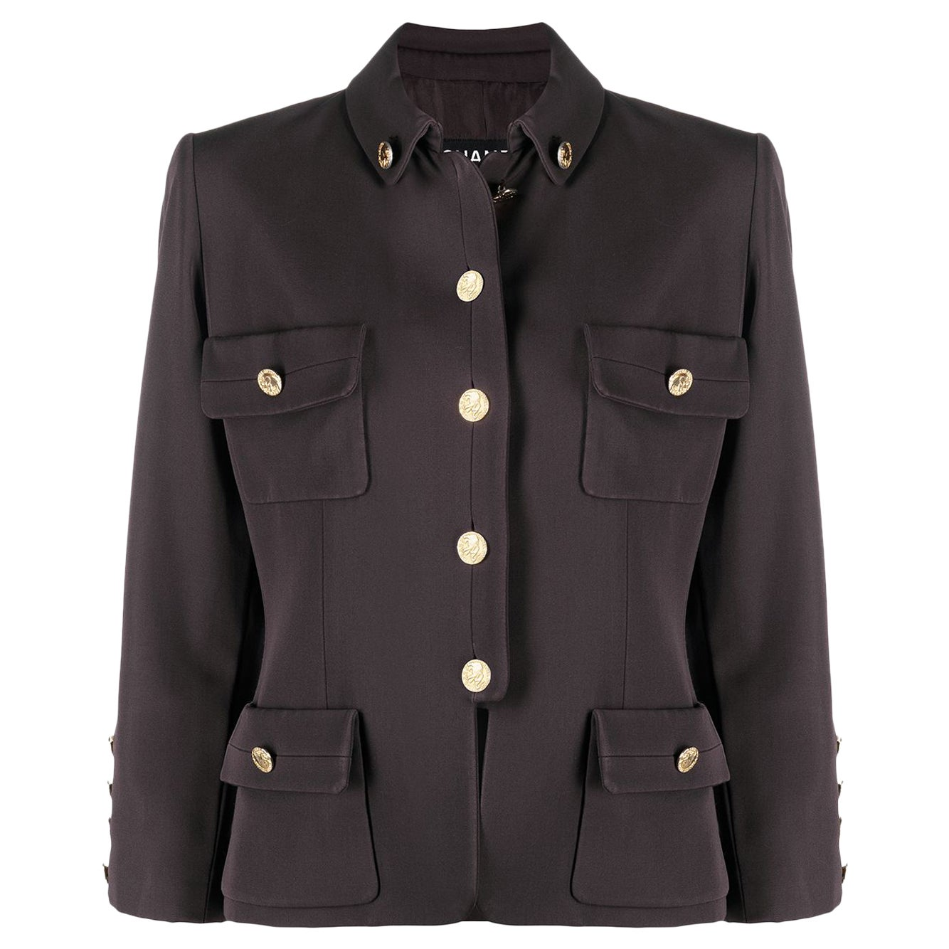 Chanel Brown Wool Military Jacket and Elephant Buttons