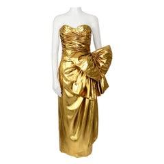 Christian Dior vintage 1990s liquid gold silk lame draped bustier & skirt set