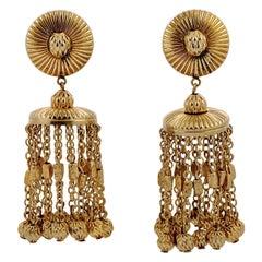 Bartek Gold Tone Chandelier Statement Clip On Earrings