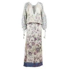 Etro Lace Trimmed Printed Crepe De Chine Maxi Dress
