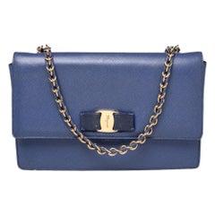 Salvatore Ferragamo Electric Blue Leather Ginny Shoulder Bag
