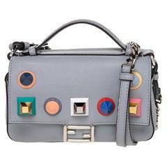 Fendi Grey Leather Studded Double Micro Baguette Shoulder Bag