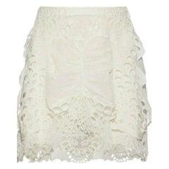 Chloe Broderie Anglaise Tulle & Linen Blend Mini Skirt