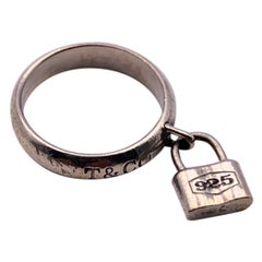 Tiffany & Co. Sterling Silver 1837 Padlock Ring Size 5