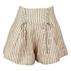 Zimmermann Painted Heart Lace Up Linen Shorts