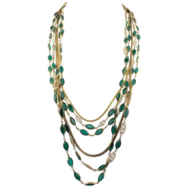 Multi-Strand Gold-Toned and Green Paste Necklace - 1940s/1950s For Sale